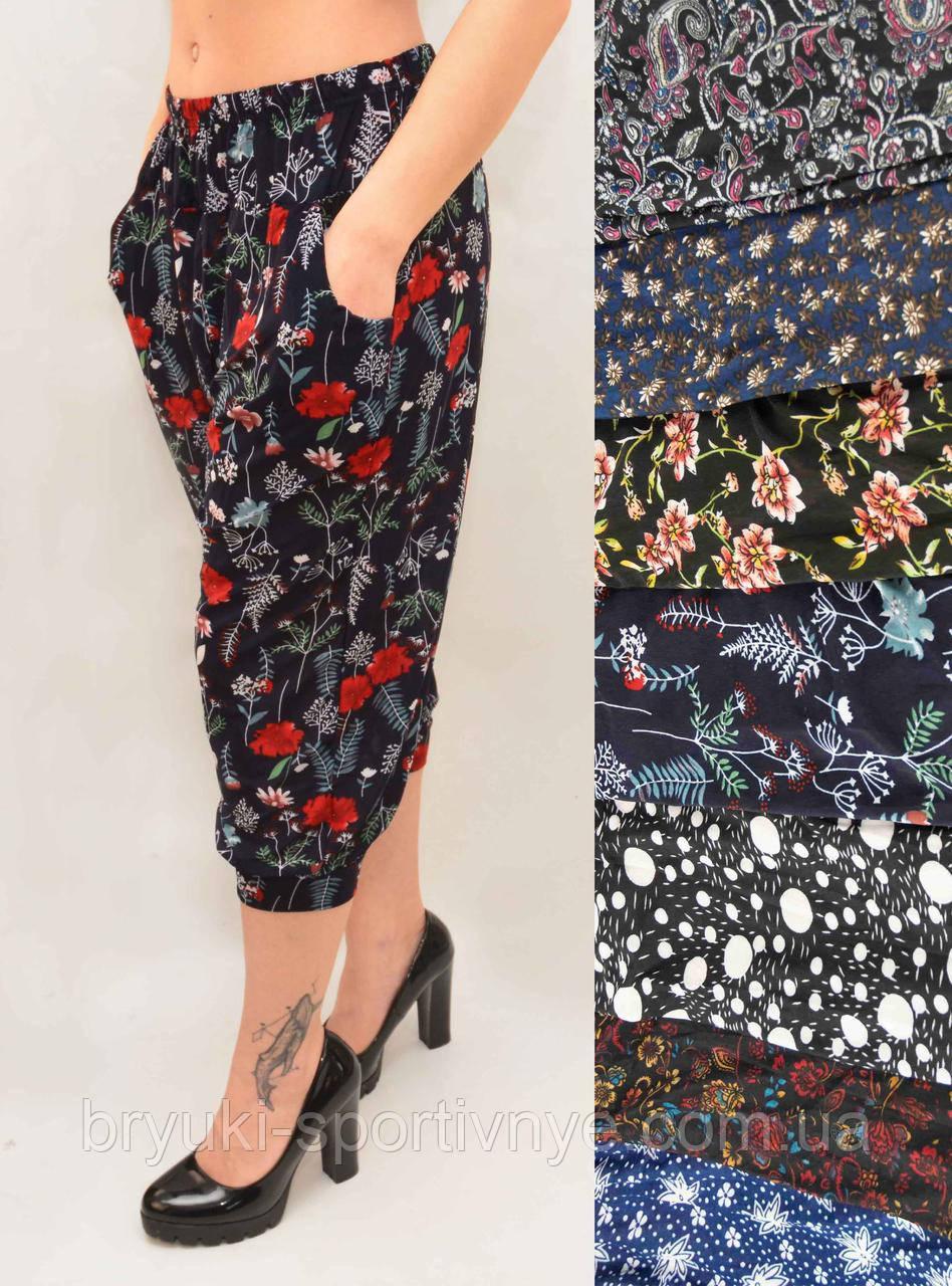 Бриджи женские под манжет с карманами, холодок XL - 4XL Капри султанки с цветочным принтом - батал
