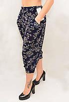 Бриджи женские под манжет с карманами, холодок XL - 4XL Капри султанки с цветочным принтом - батал, фото 3