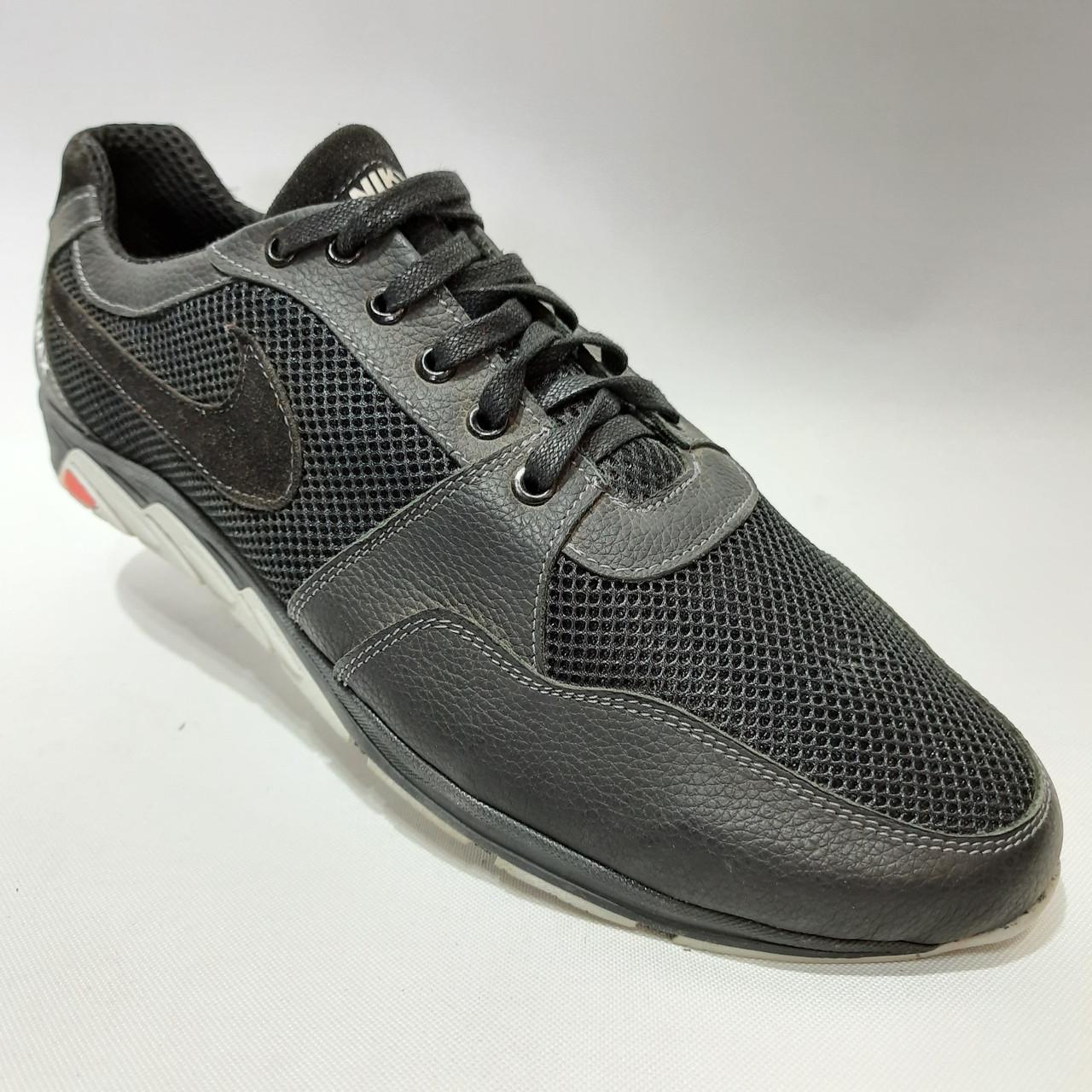 Летние кроссовки в стиле Nike (больших размеров) размеры р. 46, 47 Кожа / сетка черные