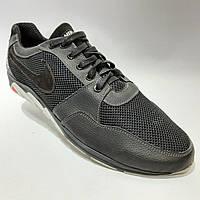Летние кроссовки в стиле Nike (больших размеров) размеры р. 46, 47 Кожа / сетка черные, фото 1