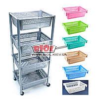 Этажерка 4-ярусная (цвет - серый) пластиковая прямоугольная 39х30х93см на колесиках Консенсус