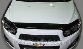 Дефлектор капота (Люкс!) мухобойка Chevrolet Aveo T300 2011-2015, SIM, SCHAVE1212