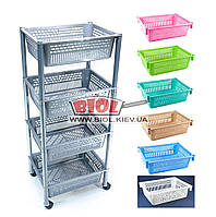 Этажерка 4-ярусная (цвет - салатовый) пластиковая прямоугольная 39х30х93см на колесиках Консенсус