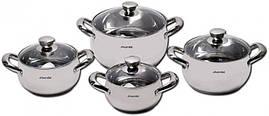 Набор кухонной посуды из нержавеющей стали для всех типов плит Kamille Excellent 8 предметов