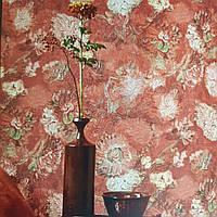 Обои виниловые на флизелине BN International 220000 Van gogh 2 цветы ярко красные розовые мазками на красном