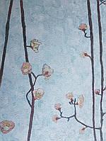 Обои виниловые на флизелине BN International Van gogh 2 ветки сакуры черные розовые зеленые на ярко голубом