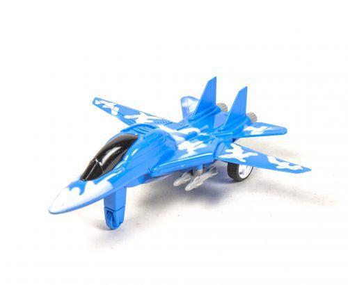 Самолет-истребитель, инерционный (синий) 44012