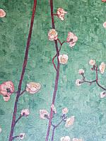 Обои виниловые на флизелине BN International Van gogh 2 ветки сакуры коричневые беж розовые на ярко зеленом