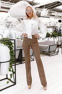 Женские брюки в полоску с завышенной талией