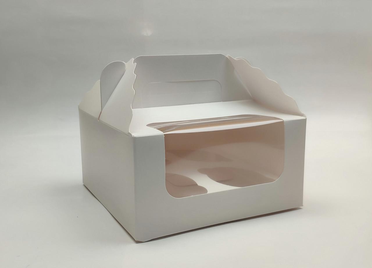 """Картонная коробка для капкейков """"Белая на 4 шт. с окном""""( 5 шт)"""