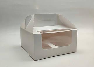 """Картонная коробка для капкейков """"Белая на 4 шт. с окном"""""""