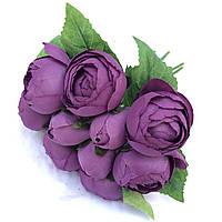 Связка Ранункулюсов лютик фиолетовый 10 шт  23 см