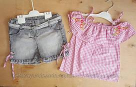 Костюм на девочку, 5-8 лет, джинсовые шорты, рубашка со спущенными плечами, розовый, Розы