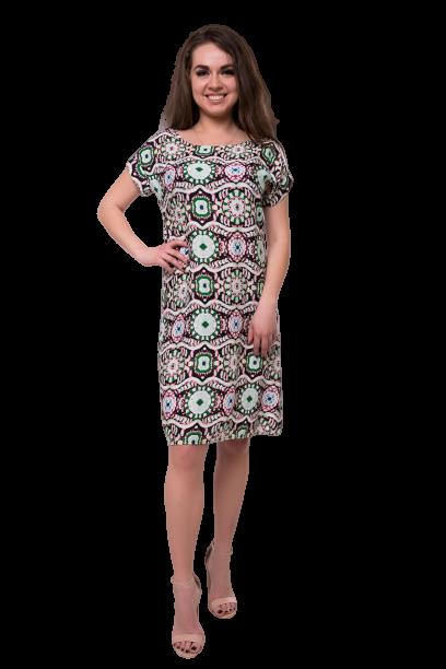 Літнє плаття міді з віскози з абстрактним принтом C74S-9 короткий рукав зелене