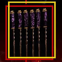"""Эксклюзивный набор шампуров ручной работы с инкрустацией камнями """"Mysterious stranger"""", в кожаном колчане"""