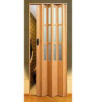 """Дверь гармошка под стекло """"Vinci Decor Simfonia"""" 860мм Дуб"""