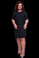 Черное платье-рубашка из вискозы в мелкий горошек Bon Voyage C87S-2