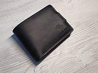 Кожаное портмоне с монетницей на магните черное, матовая кожа, кэжуал