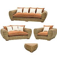Комплект плетеной мягкой мебели Cruzo Пеллегрино из натурального ротанга Коричневый (pl0001-0)