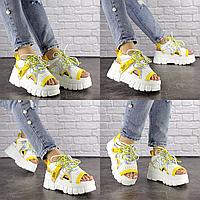 Женские стильные белые с желтым босоножки Sabella 1568 Эко-кожа  Размер 39 - 24,5 см по стельке, обувь женская