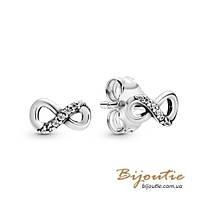 Срібні Сережки-гвоздики Пандора НЕСКІНЧЕННІСТЬ #298820C01