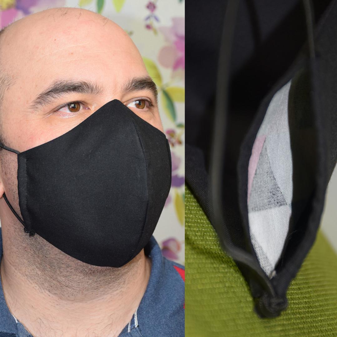 Маска с кармашком для фильтра трехслойная черная защитная многоразовая мужская
