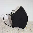 Маска с кармашком для фильтра трехслойная черная защитная многоразовая мужская, фото 3