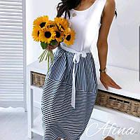 Женское стильное летнее платье в полоску без рукавов Батал, фото 1