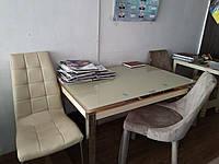 Раскладной стеклянный стол для кухни и гостиной TB 017 крем