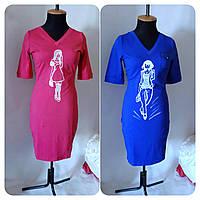 Платье женское однотонное в 6-ти цветах с принтом девушки Сукня жіноча в різних кольорах приталена