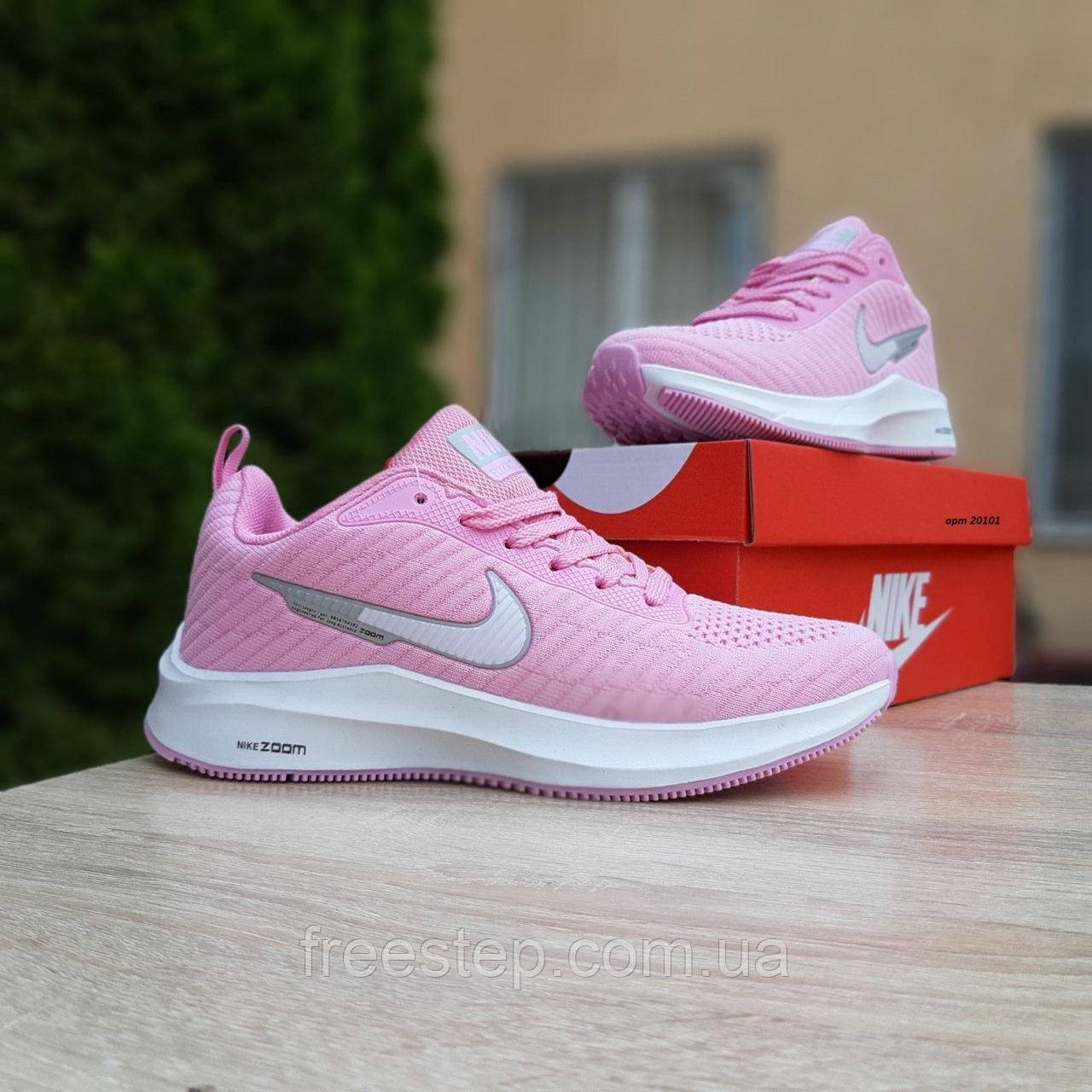Кросівки жіночі в стилі Nike Flyknit Lunar 3 рожеві