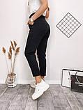 Женские джинсы МОМ черные, пояс на резинке, джинс коттон, фото 2