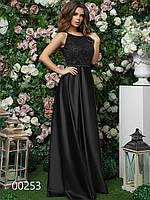 Платье длинное для вечеринки из гипюра и шелка, 00253 (Черный), Размер 46 (L)