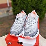 Кросівки жіночі в стилі Nike Flyknit Lunar 3 сірі з рожевим, фото 3