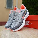 Кросівки жіночі в стилі Nike Flyknit Lunar 3 сірі з рожевим, фото 4