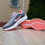 Кросівки жіночі в стилі Nike Flyknit Lunar 3 сірі з рожевим, фото 7