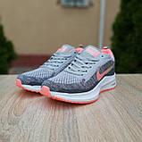 Кросівки жіночі в стилі Nike Flyknit Lunar 3 сірі з рожевим, фото 8