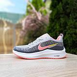 Кросівки жіночі в стилі Nike Flyknit Lunar 3 сірі з рожевим, фото 10