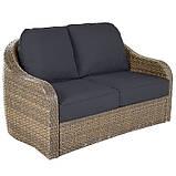 Набір садових меблів з ротанга Borneo 4 Conversation Piece Sofa Set - Light Brown & Charcoal, фото 2