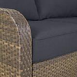 Набір садових меблів з ротанга Borneo 4 Conversation Piece Sofa Set - Light Brown & Charcoal, фото 3