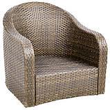 Набор садовой мебели из ротанга Borneo 4 Piece Conversation Sofa Set - Light Brown & Charcoal, фото 4