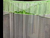 Тюль для кухни сетка с воланом готовая короткая