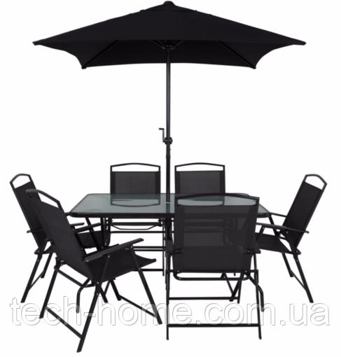 Набор садовой мебели George Home Miami 8 Piece Patio Set - Black & Charcoal