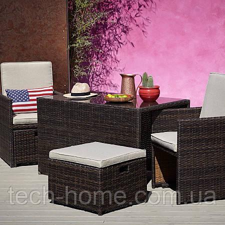 Садові меблі George Borneo Home Cube 5 Piece Bistro Set - Dark Brown & Linen