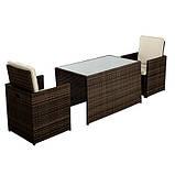 Садовая мебель George Home Borneo Cube 5 Piece Bistro Set - Dark Brown & Linen, фото 2