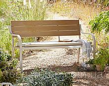 Лавка для саду Haversham 2 Seat Classic Garden Bench in Taupe Linen and Dark.