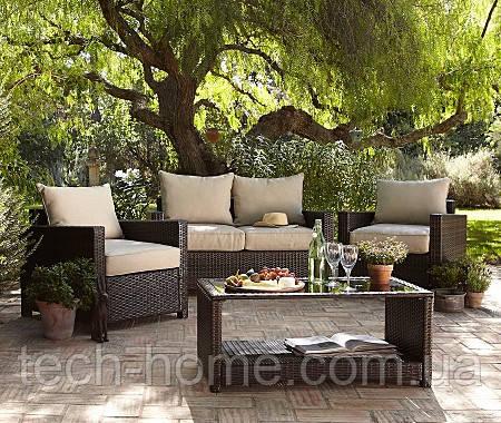 Набор садовой мебели George Home Jakarta Deluxe Conversation Sofa Set in Dark Linen - 4 Piece.