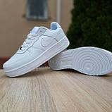 Кросівки жіночі в стилі Nike Air Force білі, фото 5