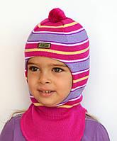 Шапка - шлем. Цвет малиновый. Размер 48 (1-3 года)