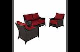 Набор садовой мебели Sumatra 3 Piece Conversation Sofa Set - Chilli Red, фото 2